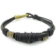 ILife Konov Jewelry Mens Genuine Leather Rope Bracelet Tribal Braided Cuff Bangle Black Gold