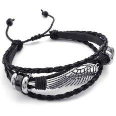 ILife Konov Jewelry Mens Leather Wrap Bracelet, Vintage Wing, Fit 7-9 Inch Black Silver