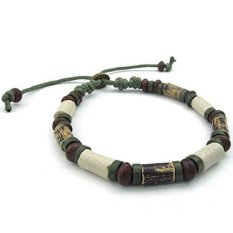 ILife KONOV Jewelry Mens Womens Ceramic Rope Bracelet Tribal Fit 7-9 Inch Adjustable (Green / Brown)