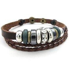 ILife KONOV Jewelry Men's Women's Leather Bracelet Tribal Braided Bangle (Brown)