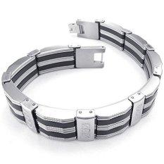 ILifeKONOV Jewelry Mens Stainless Steel Bracelet Biker Link Cuff Bangle (Black / Silver)