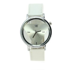Inverted Triangle Hollow Famale Quartz Watches Women Casual Clock Wristwatches Relogio Fashion Business Watches White&white (Intl)