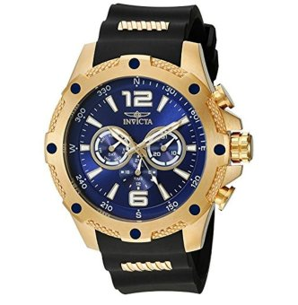 Invicta Men's 19659 I-Force 18k Gold Ion-Plated Watch with Black Polyurethane Band - intl