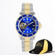 Invicta Pro Diver Men 40mm Case Steel, Gold Stainless Steel Strap Blue Dial Automatic Watch 21719 W / Cap - Intl