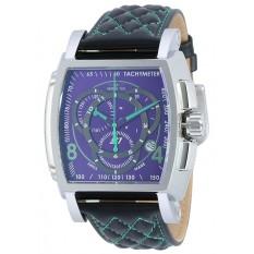 Invicta S1 Rally Men Black, Green Leather Strap Purple Dial Quartz Watch 19517