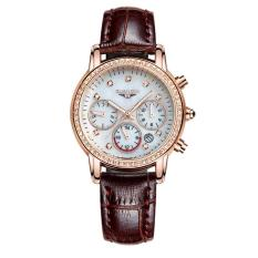 Iokioh Ms. Qin Genuine Diamond Crown Quartz Watch Fashion Leisure Ladies Watch Waterproof Leather.