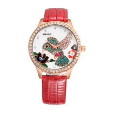 Iooilyu WEIQIN Fashion Women Luxury Quartz Watch Rhinestone Hummingbird Dial Watches PU Leather Strap Rose Gold Case Dress Wristwatches (Red)