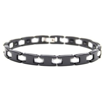Istana Accessories Gelang David Black White Stripe Stainless Steel Ceramic Magnetic Bracelet - Gelang Kesehatan (One Size)