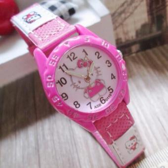 Jam Tangan Anak Hello Kitty Badge Girl Watch Leather Strap - PinkTua