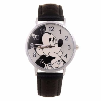 Jam Tangan Anak Mickey Mouse Strap Kulit Children Watch - Hitam