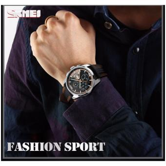 Jam Tangan Kulit leather Chronograph SKMEI asli 9106 ORANGE