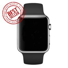 Jam Tangan LED - Jam Tangan Pria dan Wanita - Strap Karet - Hitam Silver - Apple_Black_Silver
