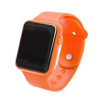 Jam Tangan Led Jam Tangan Pria Dan Wanita Karet Hitam Emas Apple Black .