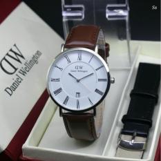 Jam tangan Pria Body case Silver DW - Bonus tali kulit