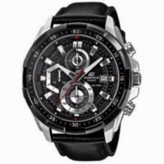 Jam Tangan Pria Casio Edifice EFR 539L - 1AV Silver Black (Leather Black)