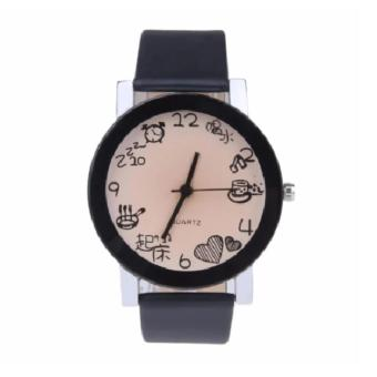 Jam Tangan Pria Faux Leather Quartz Wrist Watch - Black