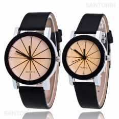 Jam Tangan Quartz 1 Pair Pria dan Wanita Strap Kulit PU Men Women Stainless Steel Leather Couple Watch - Black White