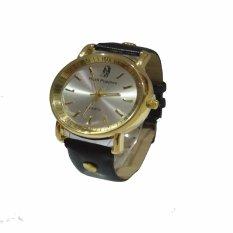 Jam Tangan Unisex Leather Strap - Hitam Gold