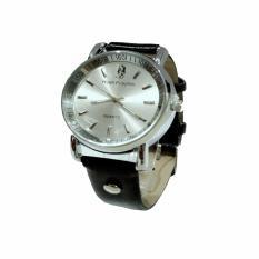 Jam Tangan Unisex Leather Strap - Hitam Silver