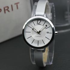 Jam Tangan Wanita Fashionable Leather Strap Silver Ring Silver ESPRIT