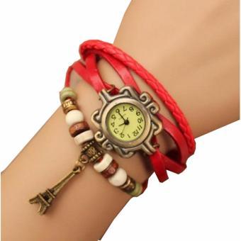 Jam Tangan Wanita Lilit Gelang Leather Strap Fasion - Merah