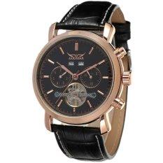 JARAGAR Luxury Rose Gold Case Automatic Self-Wind Tourbillon Men Leather Band Watch Black (Intl)