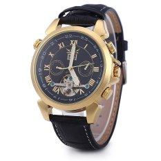 JARAGAR Men Tourbillon Automatic Mechanical Watch Leather Strap Date Week Month