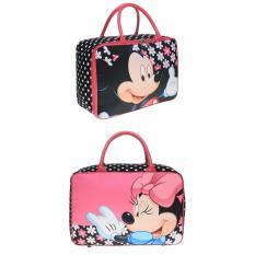 JCF- Tas Anak Fashion Travel Bag Kanvas Kotak Premium - Mickey Minnie Pink Flower