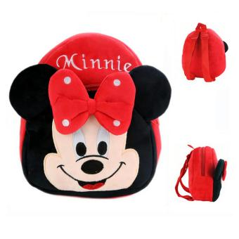 JCF Tas Fashion Anak Ransel Boneka 2 Restleting Import Yelvo Halus - Mini Mouse Red