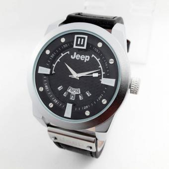 Jeep - JP9023 - Jam tangan pria - Casual - Leather strap - Ring Silver