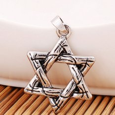 Jetting Buy 1 x heksagram liontin kalung perhiasan laki-laki Jewish rantai bintang Solomon segel
