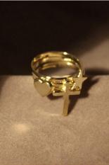 Jetting Buy Retro Ring Tiga Potong Berbentuk Hati Lima Bintang Salib (Gold)
