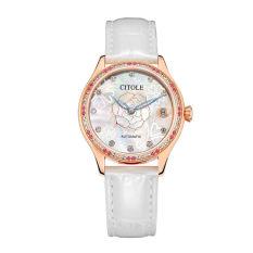 Jiage West Teng (CITOLE) Watch Lady Belt Automatic Mechanical Watch Leisure Fashion Diamond Leather 9052 Genuine White Waterproof Calendar Watch