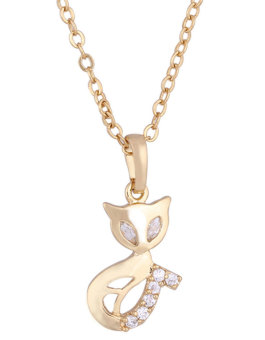 JIANGYUYAN 18K Yellow Gold Plated White Rhinestone Pretty Fox Pendant Necklace For Women