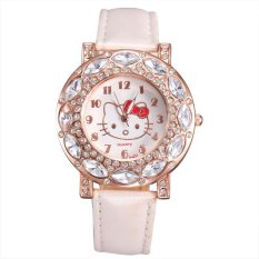 JIANGYUYAN New Hello Kitty Design Crystal Rhinestone Leather Watches Women Fashion Casual Quartz Analog Wristwatch Ladies Clocks Best Gift- (White)
