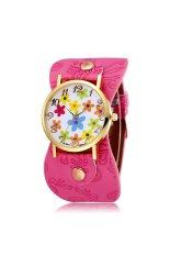 JIANGYUYAN New Leather Strap Quartz Watch Women Dress Watch Flower Design Fashion Casual Wristwatch-Rose Red