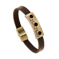 Jiayiqi Brown Circle Charm Geometry Genuine Leather Men Bracelet