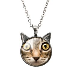 Jiayiqi Cute Cat Ears Time Gem Black Chain Pendant Necklace (Brown)