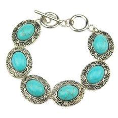 Jiayiqi Oval Engraving Symbol Turquoise Beads Vintage Silver Link Chain Bracelet (Intl)