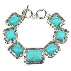 Jiayiqi Rectangle Engraving Symbol Turquoise Beads Vintage Silver Link Chain Bracelet (Intl)