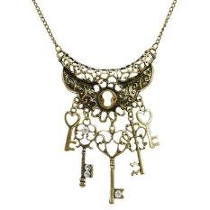 Jiayiqi Retro Vintage Key Rhinestone Gear Bronze Chain Pendant Necklace (Intl)