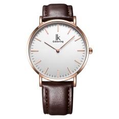jiechuan IK colouring Ultra Thin Minimalist Fashion Casual Mens Watches Top Brand Luxury Genuine Leather Strap Quartz Watch Business Man (Rose goldWhite)