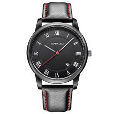 JinGle Men's Leather Date Quartz Analog Quartz Wrist Watch (Black)