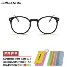 JINQIANGUI Kacamata Bingkai Pria Putaran Vintage Retro Eyeglasses Terang hitam Hapus Lens Fashion