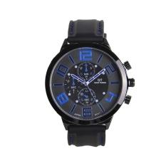 Jo.In Men Sport Round Dial Quartz Black Rubber Strap Wrist Watch Large Display (Blue) - Intl
