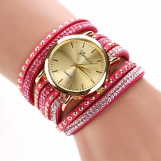 GE Rhinestone Rivet Circle Belt Synthetic Leather Bracelet Watch Wrist Watch (Red)