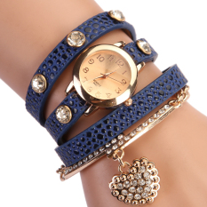 Jo.In Women Casual Watches Crystal Faux Leather Strap Long Chain Quartz Watches (Blue)