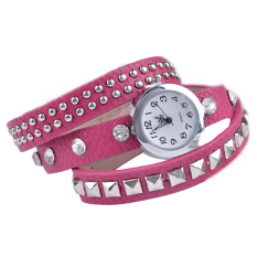 GE Women Retro Rivet Synthetic Leather Strap Watch Bracelet Wristwatch (Red)