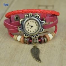 GE 5 Colors Quartz Weave Wrap Synthetic Leather Bracelet Women Wrist Watch (Orange) (Intl)