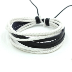 GE Wrap Multilayer Synthetic Leather Bracelet with Braided Rope Jewelry (White) (Intl)